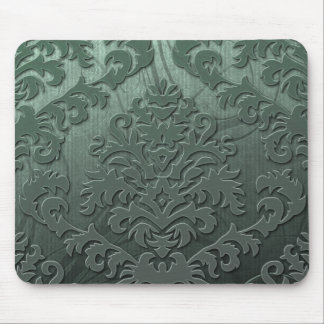 Damask Cut Velvet, Swank Swirls in Sage Green Mouse Pad