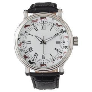 Damask Dachshunds Holiday Pattern Wristwatch
