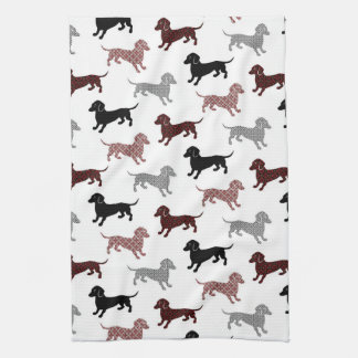 Damask Dackel Cute Dachshunds Tea Towel