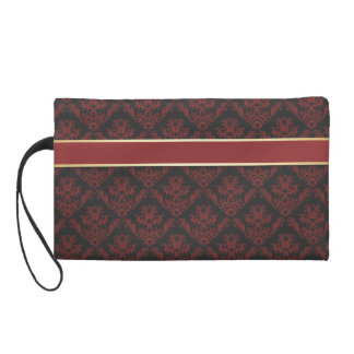 Damask Deep Red & Gold - Clutch 1 Wristlets
