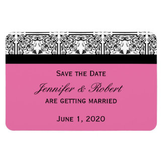 Damask Delight Floral Pink Wedding Save the Date Flexible Magnet