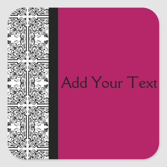 Damask Delight in Cherrystone Red Square Sticker
