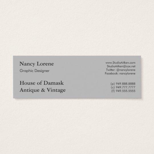 Damask Design, Filigree Medallion Mini Business Card
