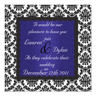DAMASK DESIGN & ROYAL BLUE Wedding Invatation 13 Cm X 13 Cm Square Invitation Card