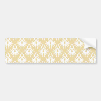 Damask Design White and gold color Bumper Stickers