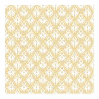 Damask Design. White and gold color. Acrylic Cut Out