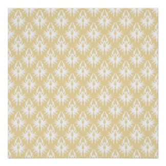 Damask Design. White and gold color. Print