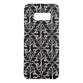 Damask Diagonal Ornate White Scrolls on Black Case-Mate Samsung Galaxy S8 Case