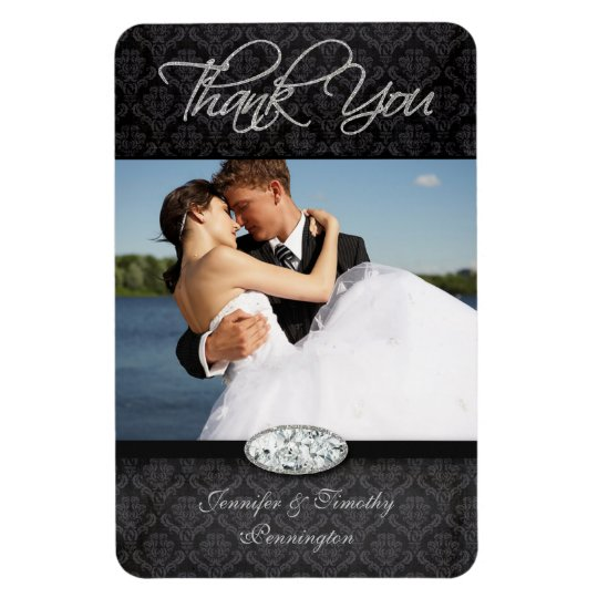 Damask diamond wedding thank you photo magnets