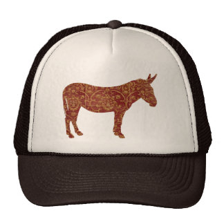 Damask Donkey Silhouette Lid Cap