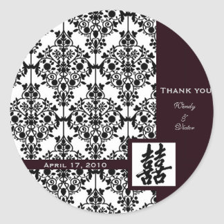 Damask double happiness sticker