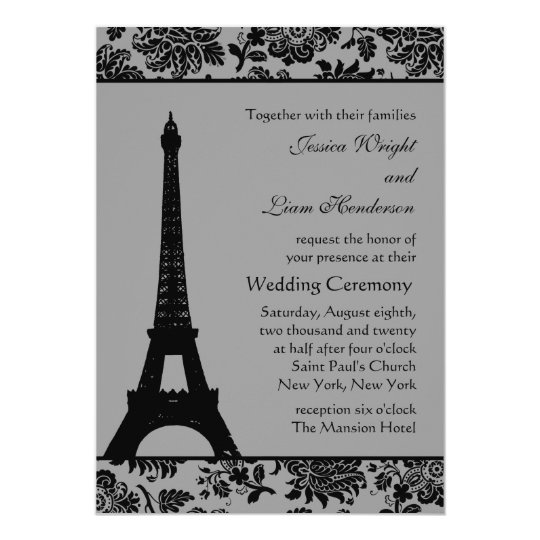 Damask Eiffel Tower Wedding Invitation