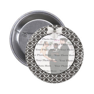 Damask Elegance Wedding Round Button