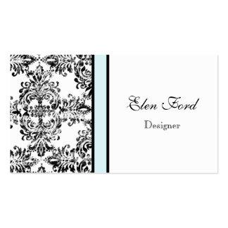 Damask Elegant Baby Blue and Black Business Cards