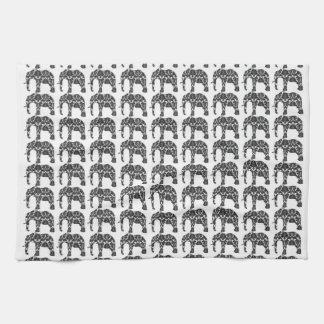 Damask Elephant Pattern Kitchen Towel