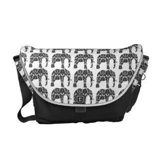 Damask Elephant Pattern Rickshaw Messenger Bag