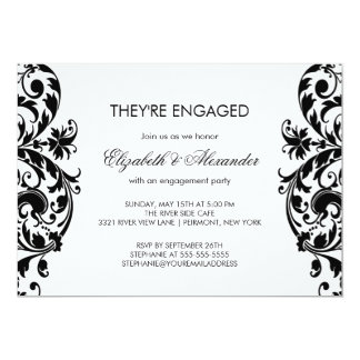 Damask Engagement Party Invitations Black & White