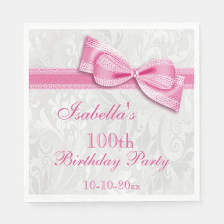 Damask & Faux Bow Girls 100th Birthday Disposable Napkin