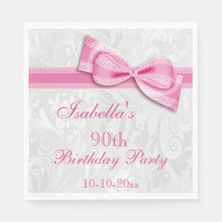 Damask & Faux Bow Girls 90th Birthday Paper Serviettes