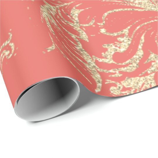 Damask Faux Gold Royal Coral Antonietta Cottage Wrapping Paper