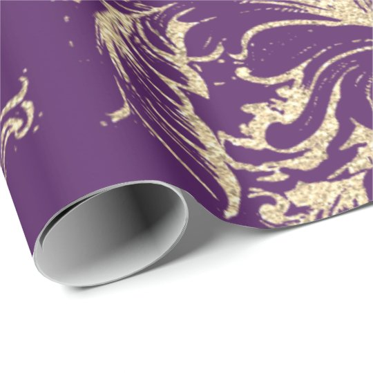 Damask Faux Gold Royal Purple Antonietta Cottage Wrapping Paper