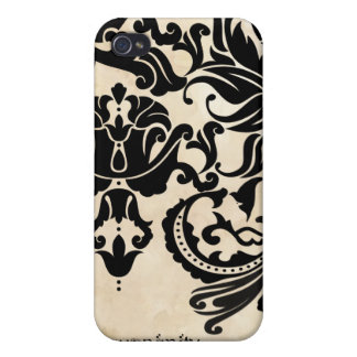 Damask Faux Tea Stained Parchment iPhone Cover Covers For iPhone 4