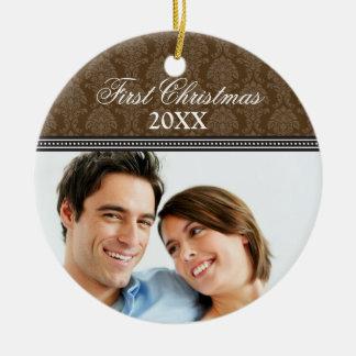 Damask First Christmas Wedding Ornament (chocolate