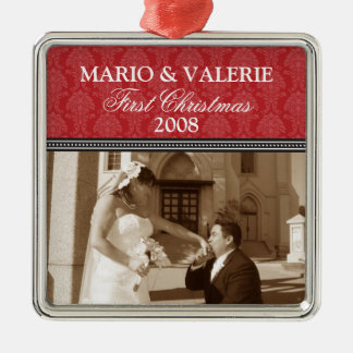 Damask First Christmas Wedding Ornament (red)