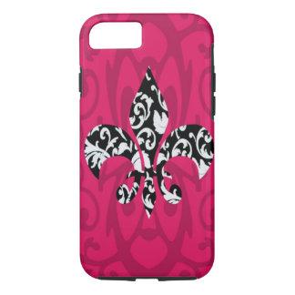 Damask Fleur de Lis with Pink iPhone 7 Case