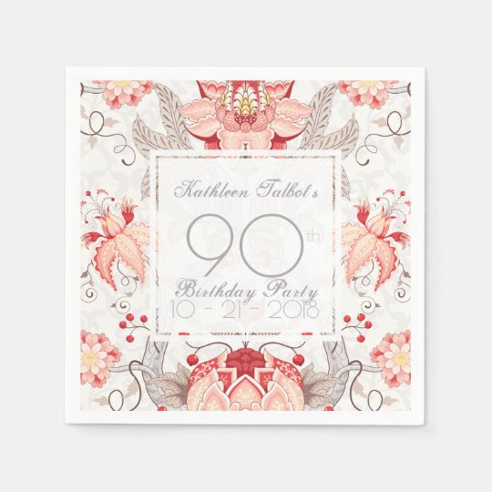 Damask Floral 90th Birthday Party Paper Napkin