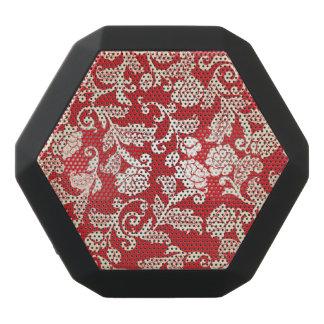 Damask floral background pattern black bluetooth speaker