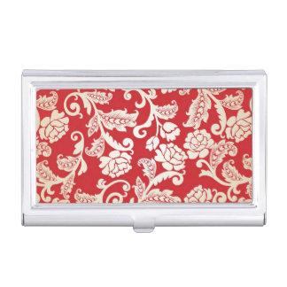Damask floral background pattern business card holder