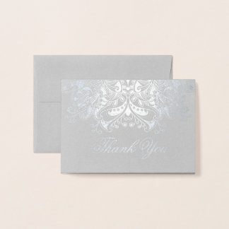 Damask Floral Design Thank You Foil Card