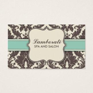 Damask Floral Elegant Modern Brown Beige and Green Business Card