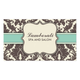 Damask Floral Elegant Modern Brown Beige and Green Pack Of Standard Business Cards