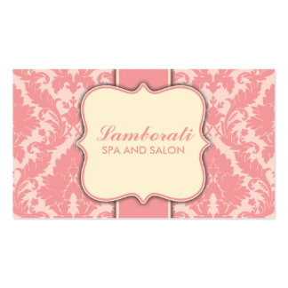 Damask Floral Elegant Modern Pink and Beige Pack Of Standard Business Cards