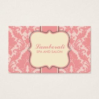 Damask Floral Elegant Modern Pink and Beige Business Card