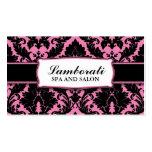 Damask Floral Elegant Modern Pink and Black Pack Of Standard Business Cards