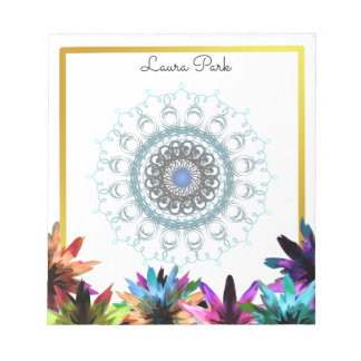 Damask Floral Gold Faux Personalized Cute Girly Notepads