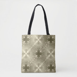 damask floral golden seamless pattern tote bag