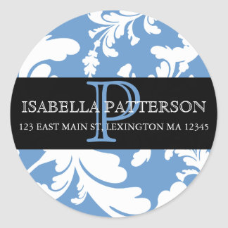 Damask Floral Monogram Circle Address Label