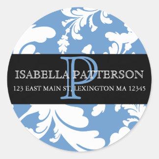 Damask Floral Monogram Circle Address Label Round Sticker