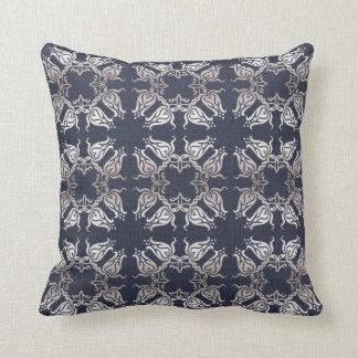 damask floral navy pattern cushion