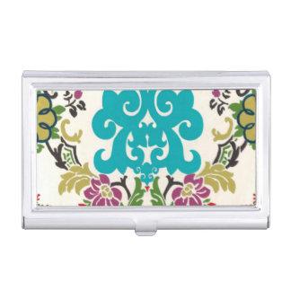 Damask Floral Patterns Plum Turquoise Business Card Holder