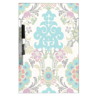 Damask Floral Patterns Plum Turquoise Dry-Erase Board