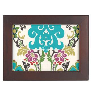 Damask Floral Patterns Plum Turquoise Keepsake Box