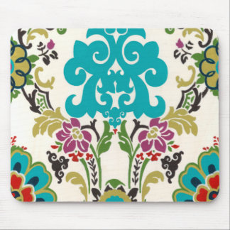 Damask Floral Patterns Plum Turquoise Mouse Pad
