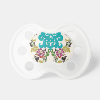 Damask Floral Patterns Plum Turquoise Pacifiers
