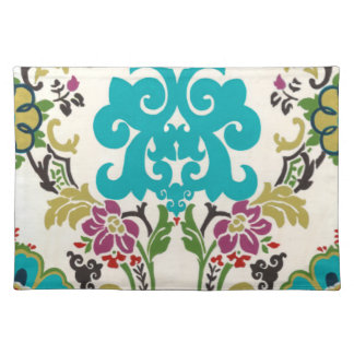 Damask Floral Patterns Plum Turquoise Placemat