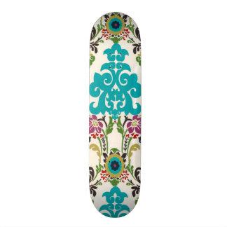 Damask Floral Patterns Plum Turquoise Skateboard Deck